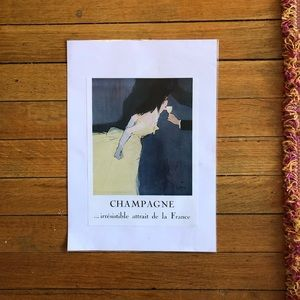 """French """"Champagne..."""" Vintage-Style Print"""